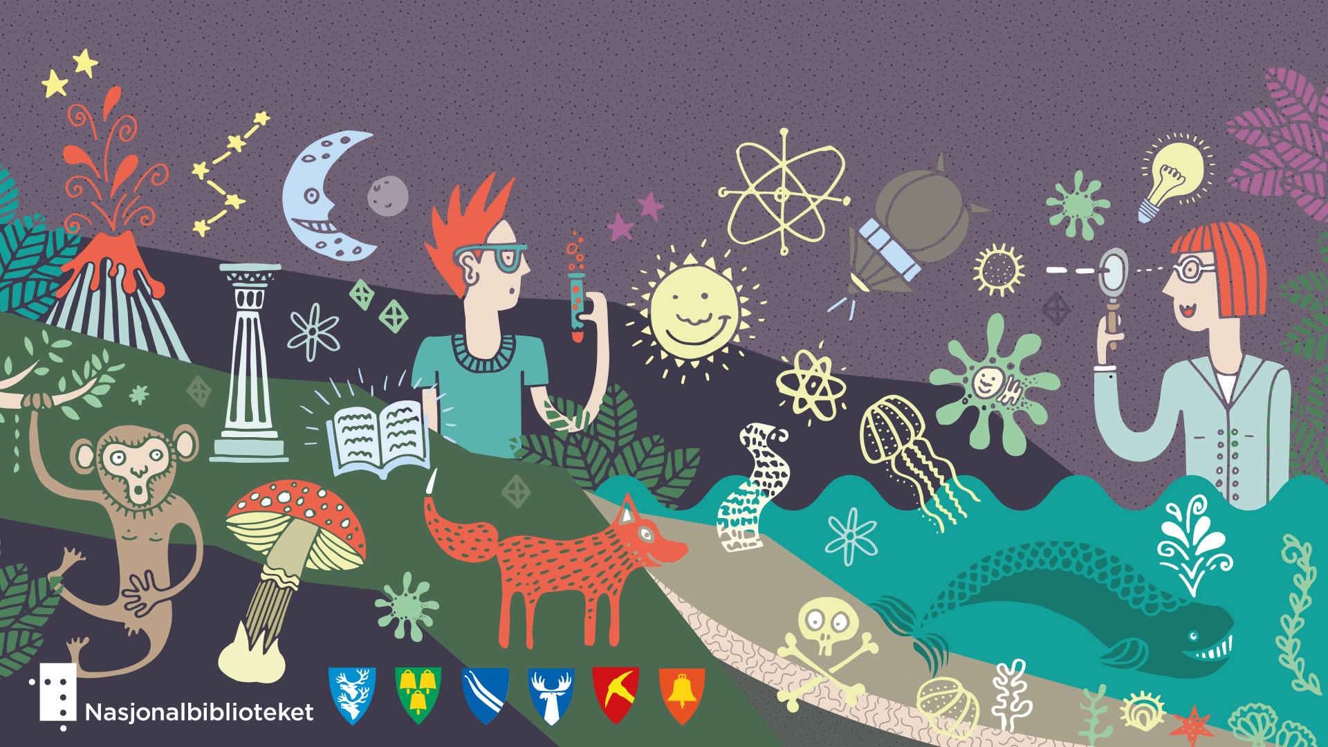 Illustrasjon for jegerysgjerrig.no, av Haus Byrå