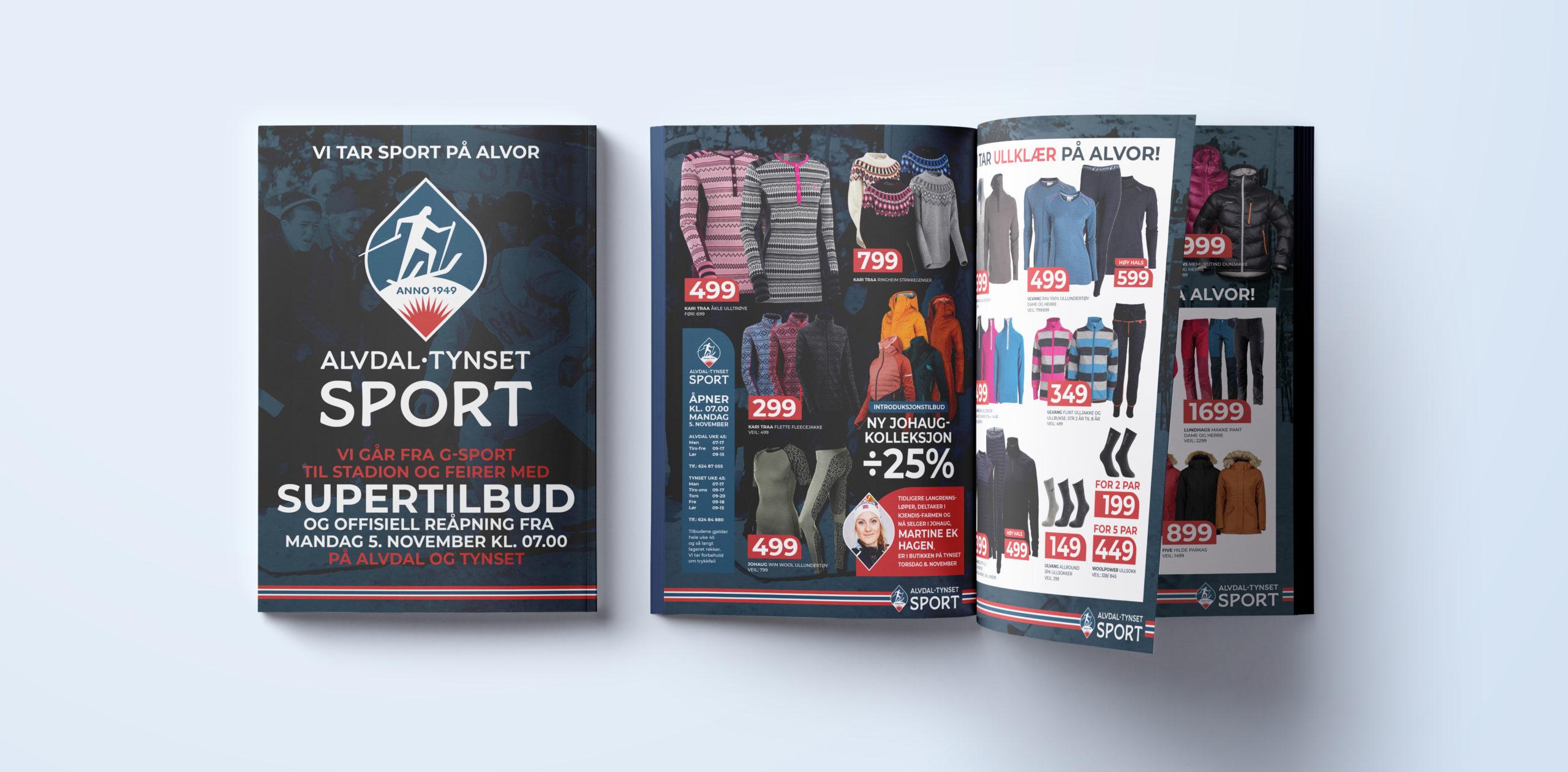 Kampanjeavis/reklamebrosjyre for Alvdal Tynset Sport, laget av Haus Byrå