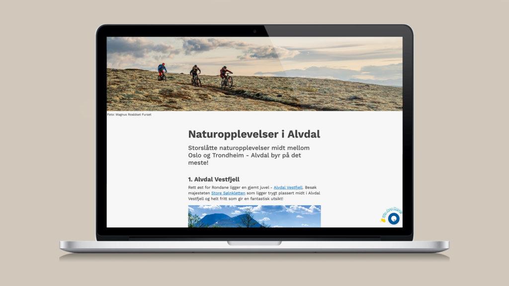 Landingsside, sommerkampanje på Facebook- og Instagram, Opplev Alvdal
