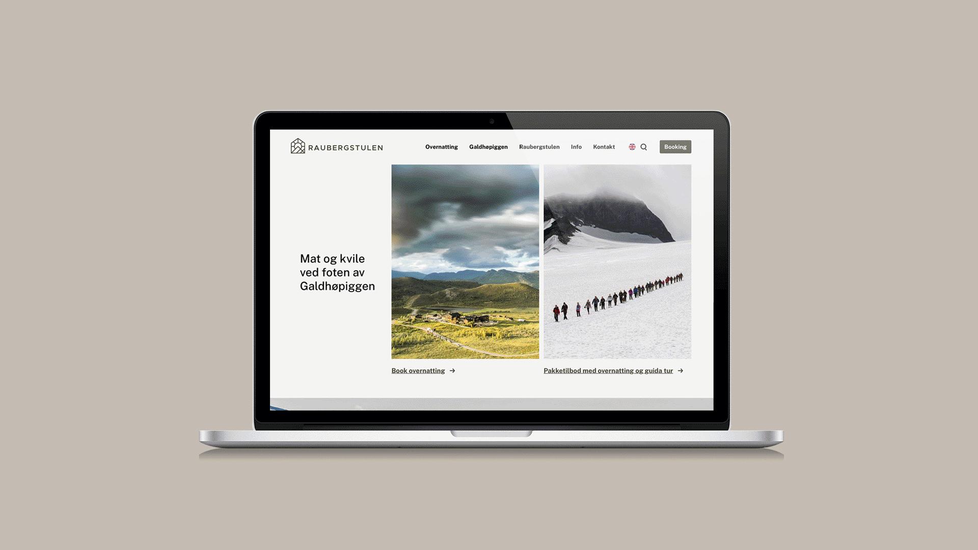 Nettside for Raubergstulen, visuell identitet og grafisk profil, Haus bryå