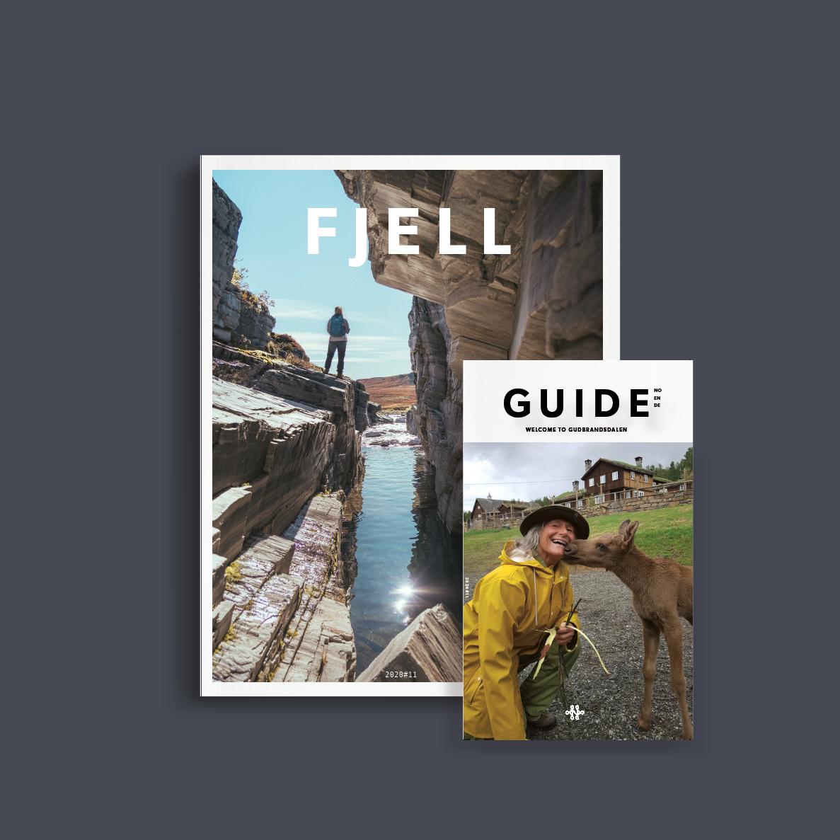 Tettere på forsiden Fjell og turistguiden Guide - laget av Haus byrå