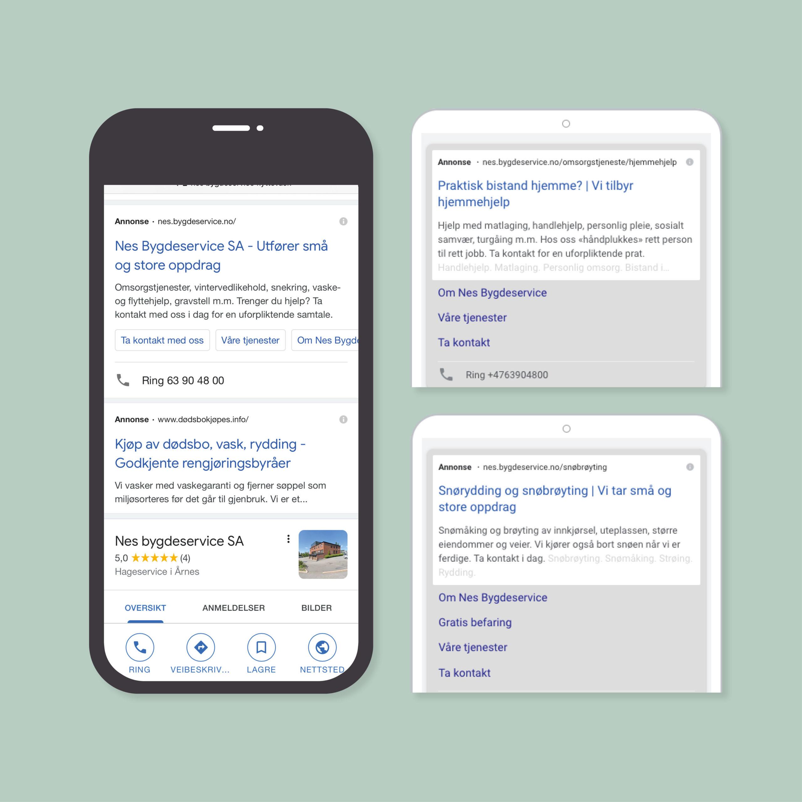 Eksempel på Google ads annonser for Nes Bygdeservice, laget av Haus Byrå