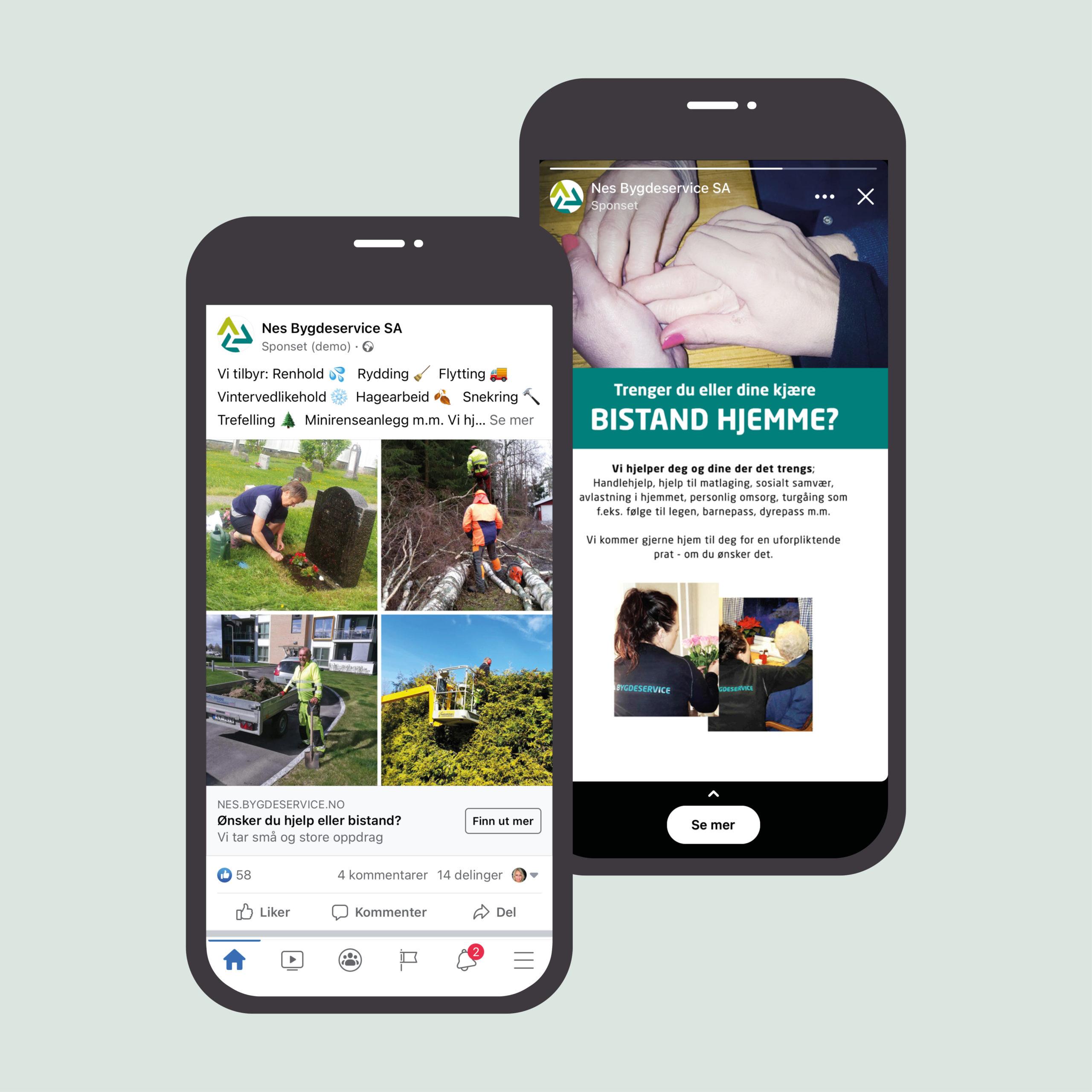 Blde av Facebook og Instagramannonser for Nes Bygdeservice, laget av Haus Byrå