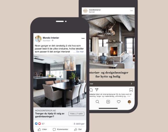 Bilde av to annonser på Facebook og Instagram for Mondo Interiør, laget av Haus Byrå