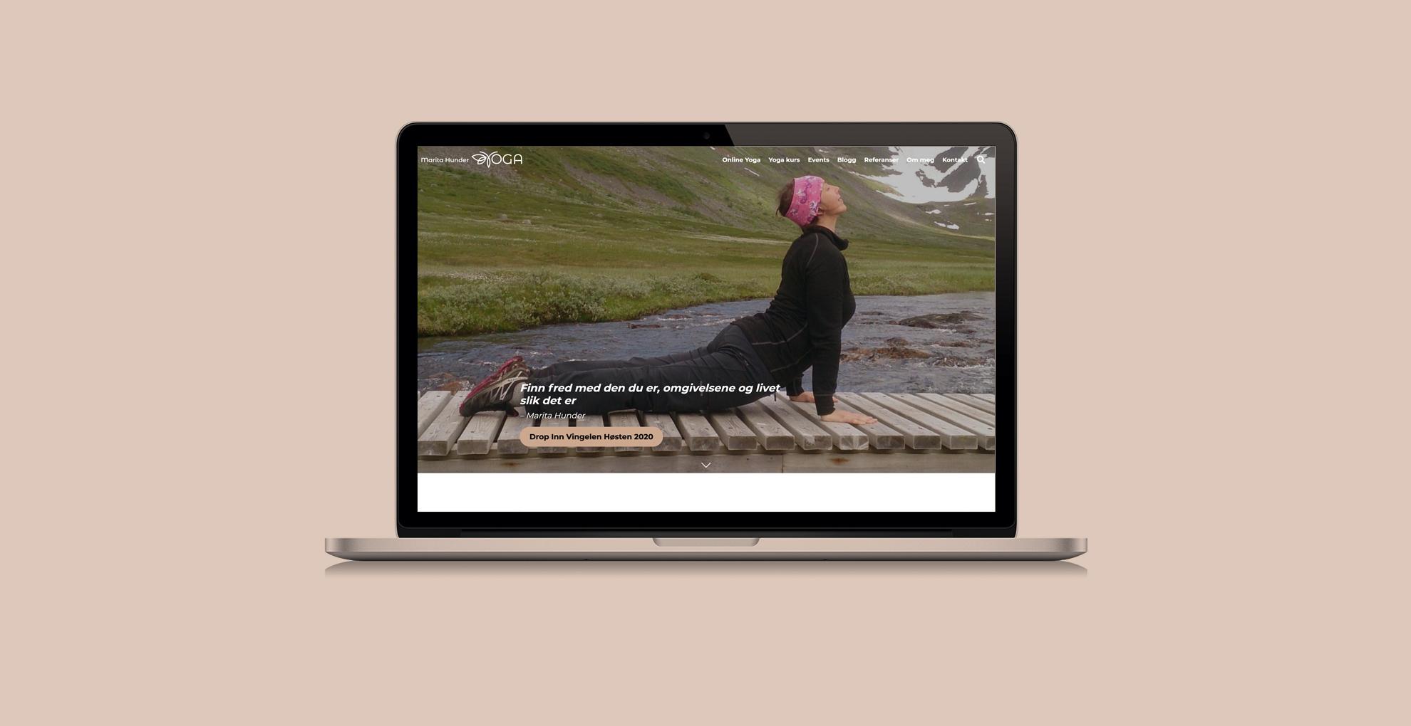 Bilde av nettsiden til Marita Hunder Yoga, laget av Haus Byrå