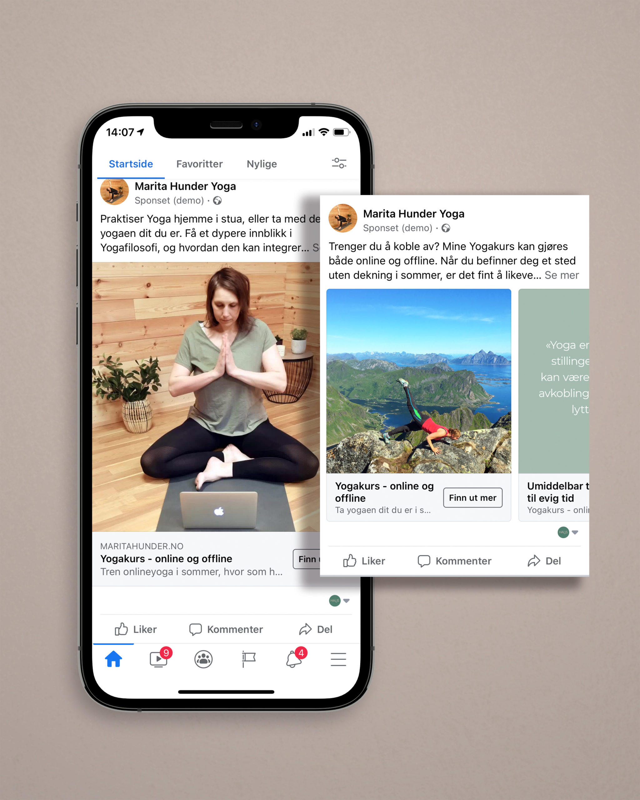 Eksempel på Facebook- og Instagramannonsering for Marita Hunder Yoga, laget av Haus byrå