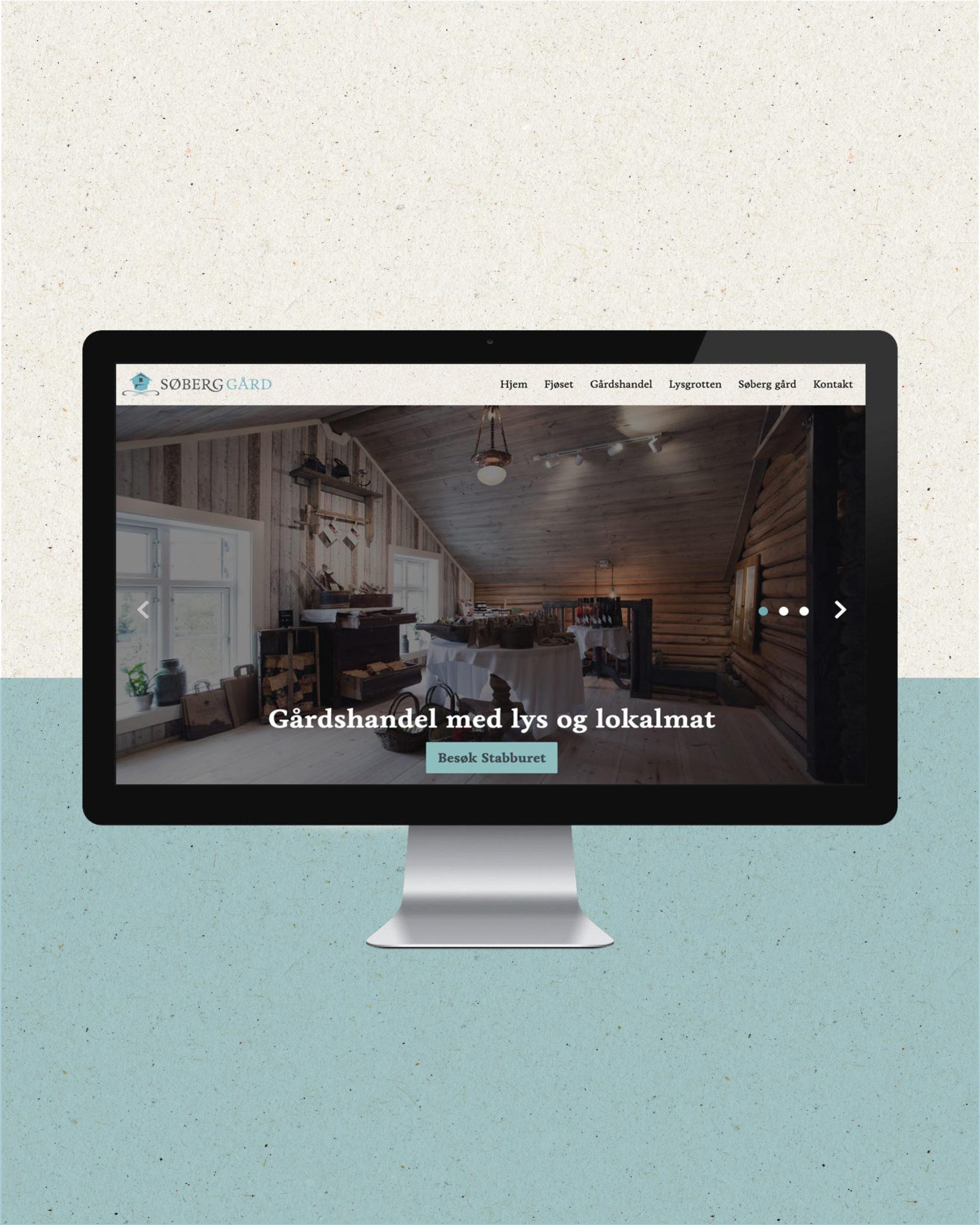 Nettside for Søberg Gård, laget av Haus Byrå