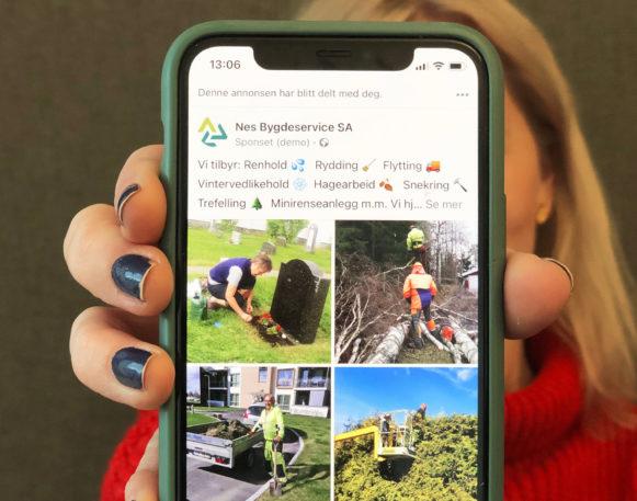 Bilde av Facebookannonse og Google ads-annonse for Nes Bygdeservice, laget av Haus Byrå