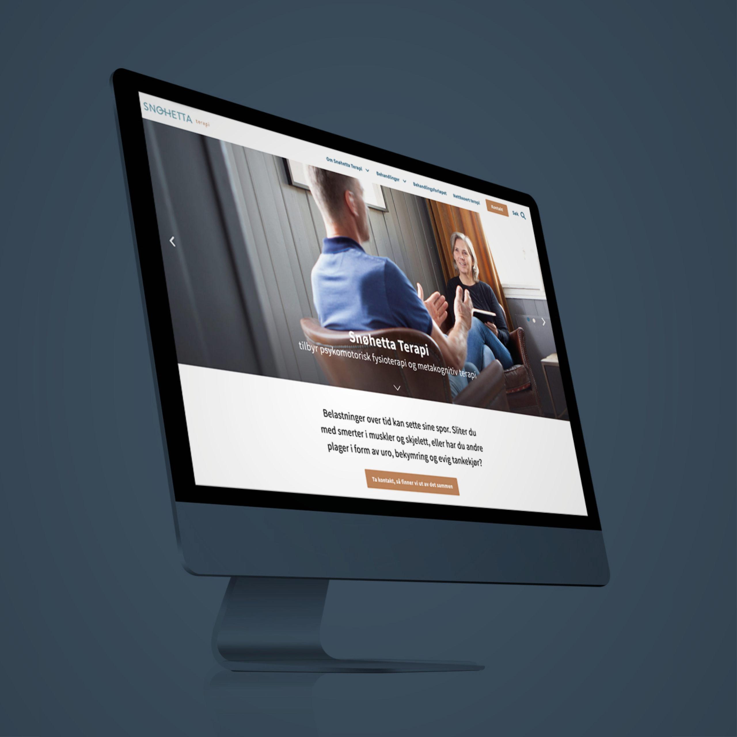 Ny nettside for Snøhetta Terapi i Folldal, laget av Haus Byrå