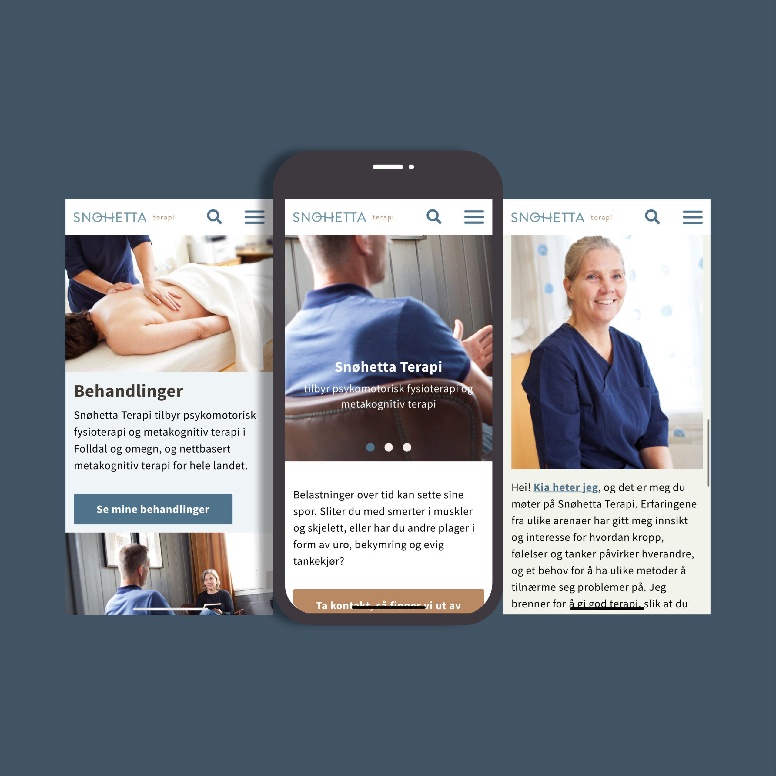 Ny nettside for Snøhetta Terapi, vist på mobil, laget av Haus Byrå