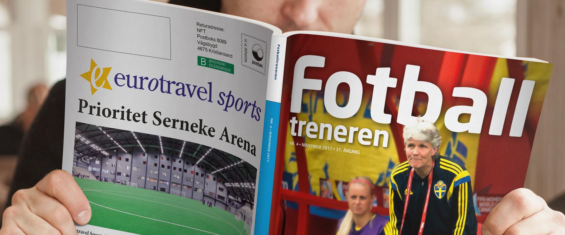 Oppslag fra medlemsbladet Fotballtreneren, laget av Haus Byrå i 2018