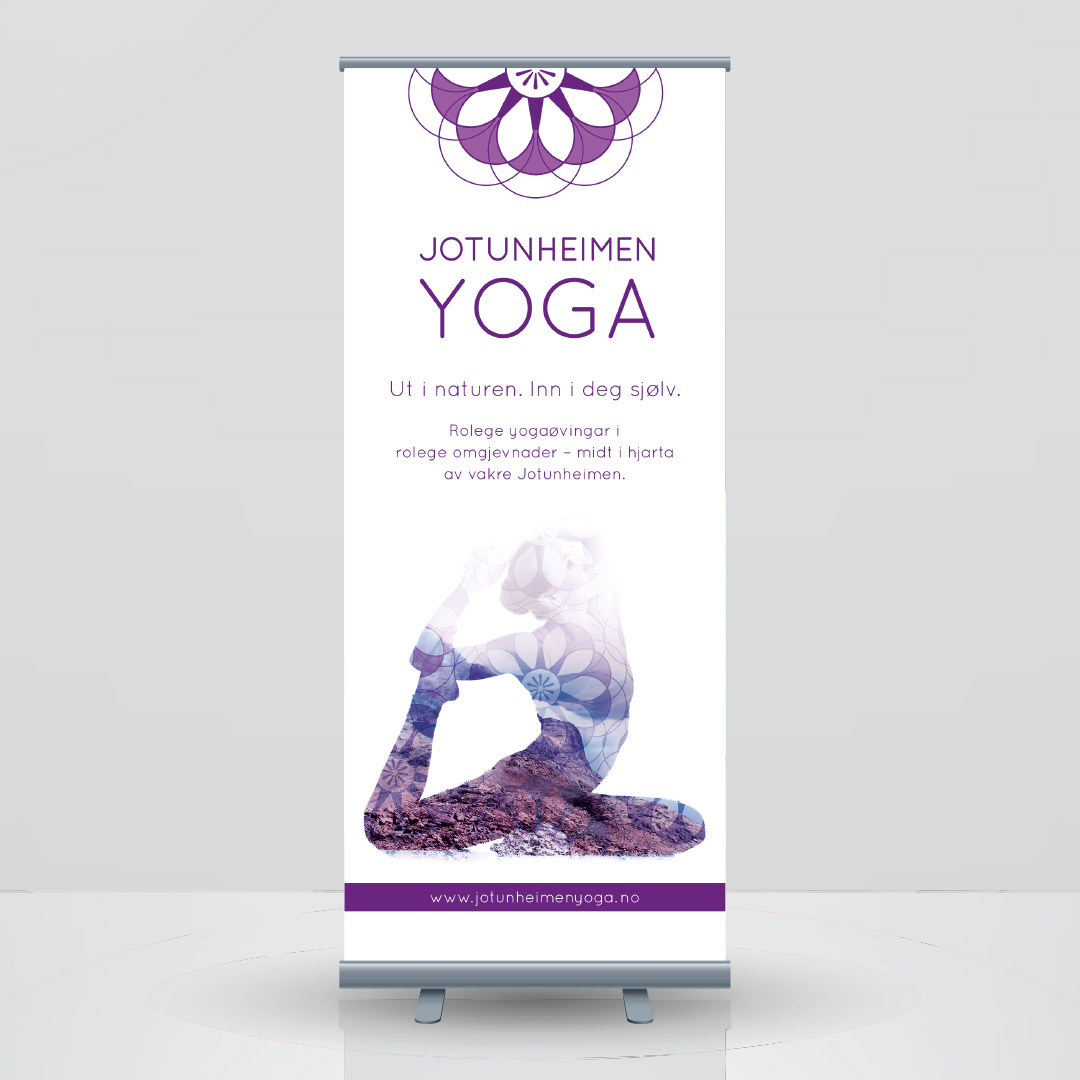 roll-up design for Jotunheimen Yoga, laget av Haus Byrå