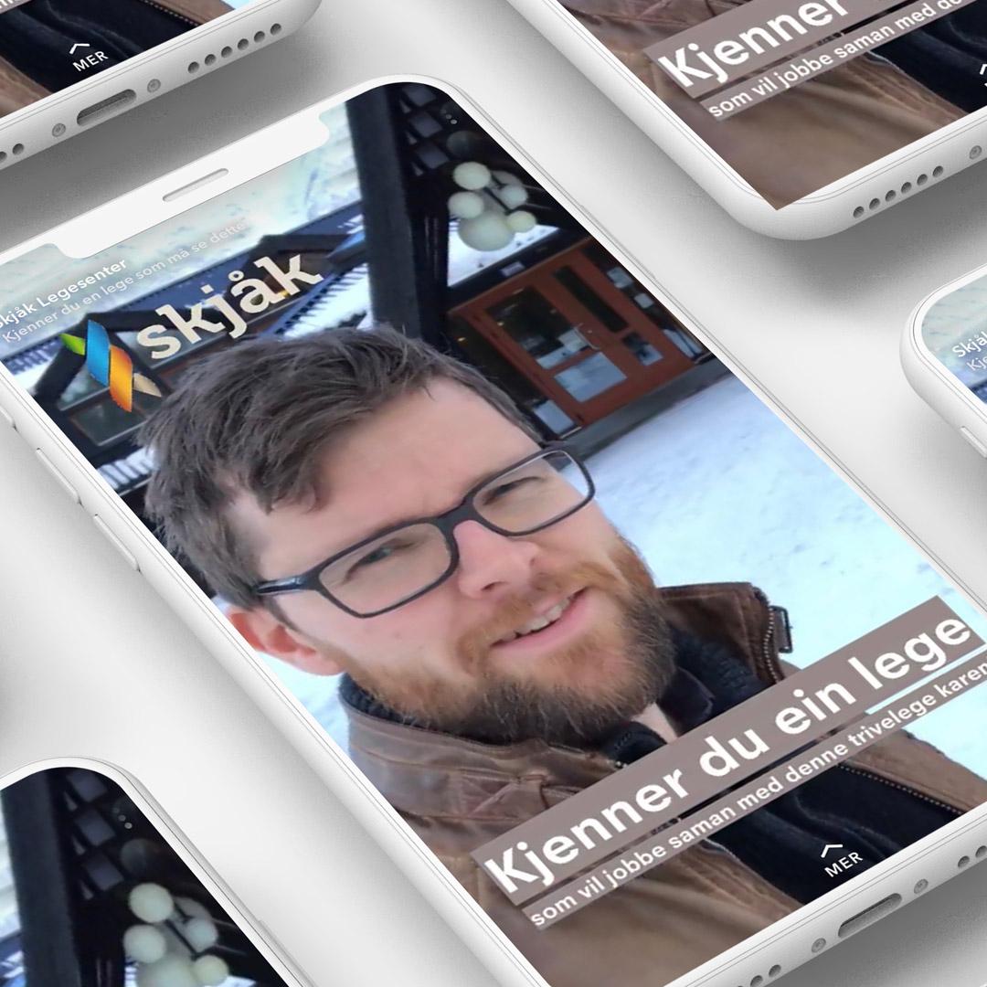 Bilde av snapchat-annonse for Skjåk kommune, laget av Haus Byrå