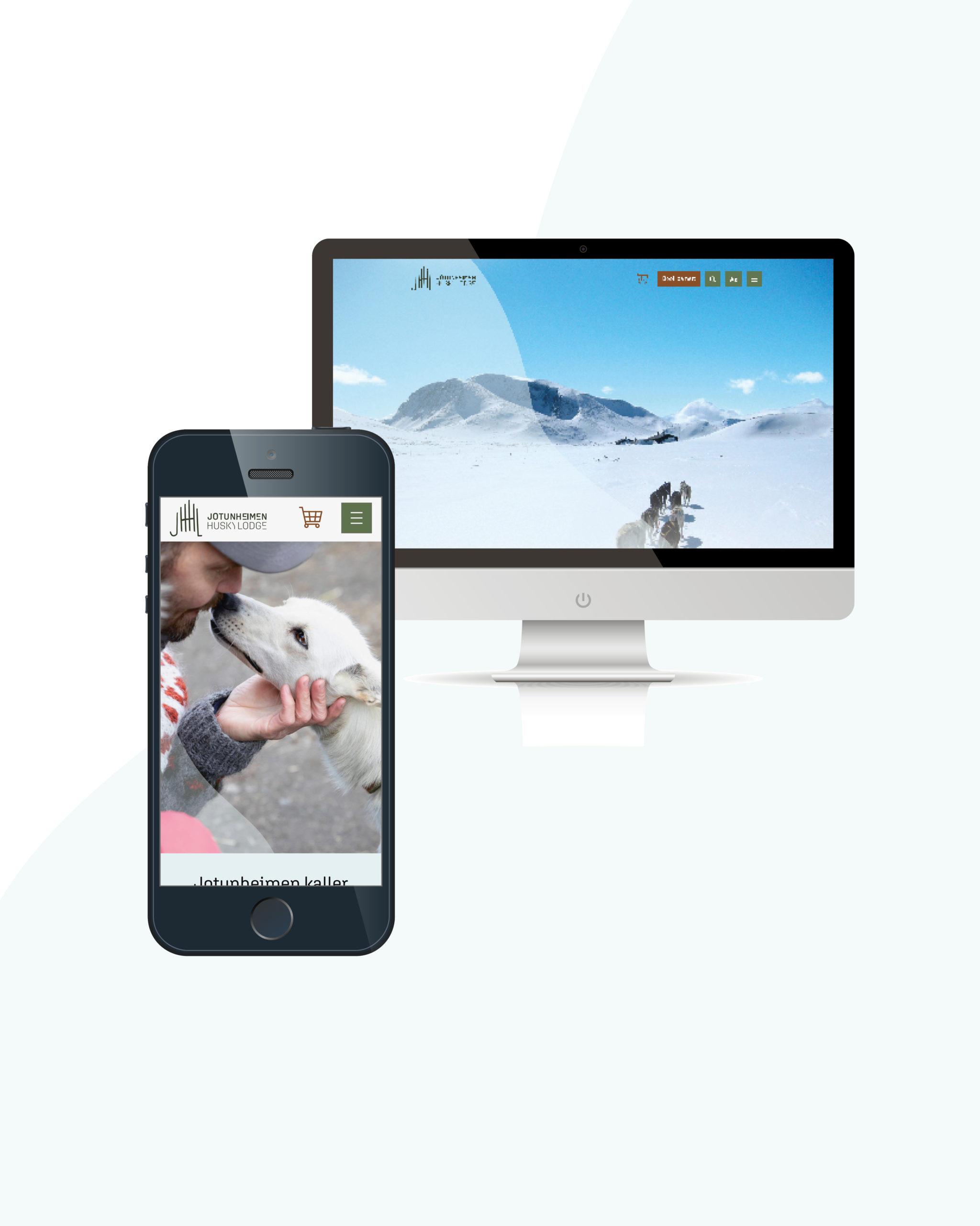 Nettside for Jotunheimen Husky Lodge, laget av Haus Byrå