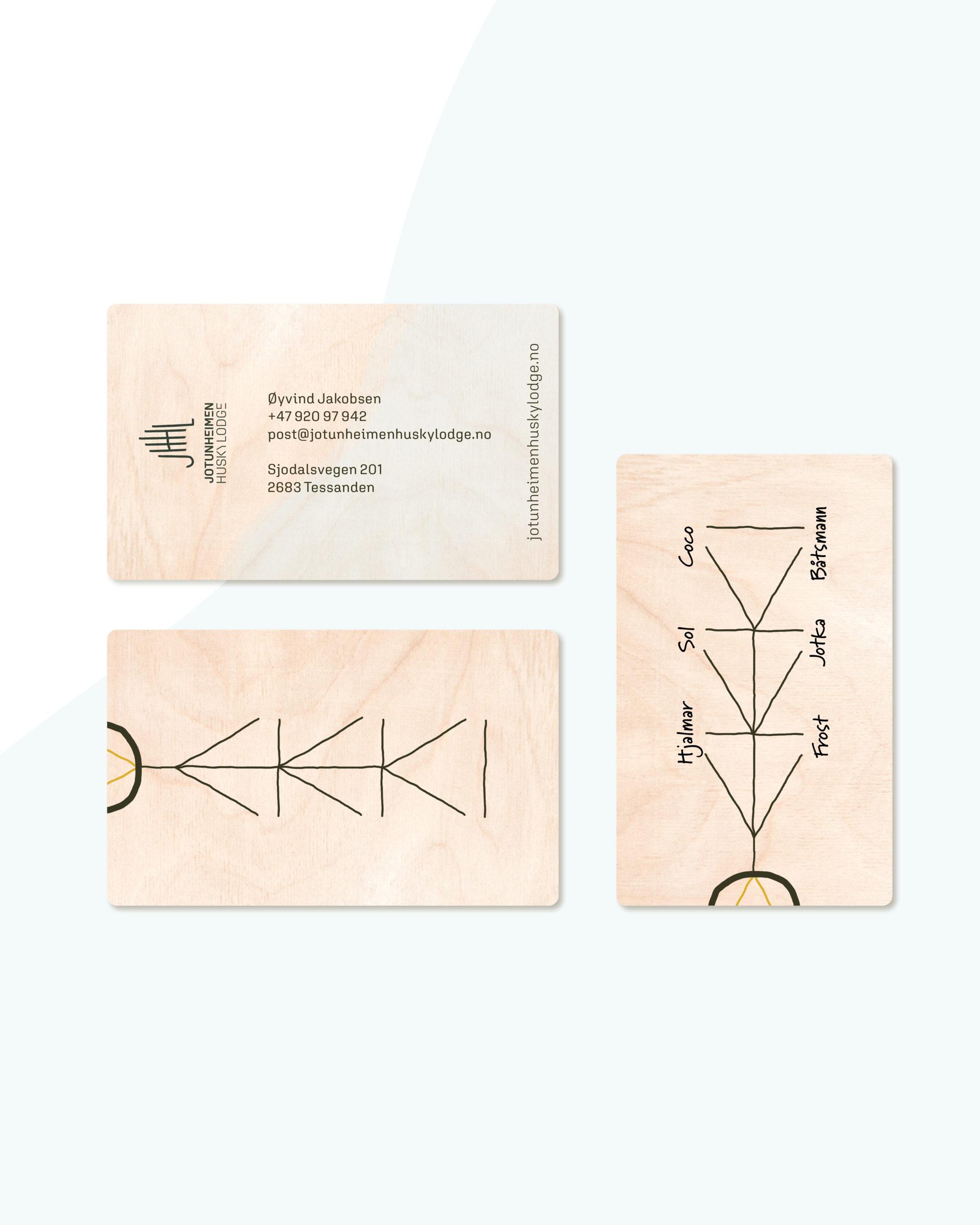 Visittkort for Jotunheimen Husky Lodge, laget av Haus Byrå