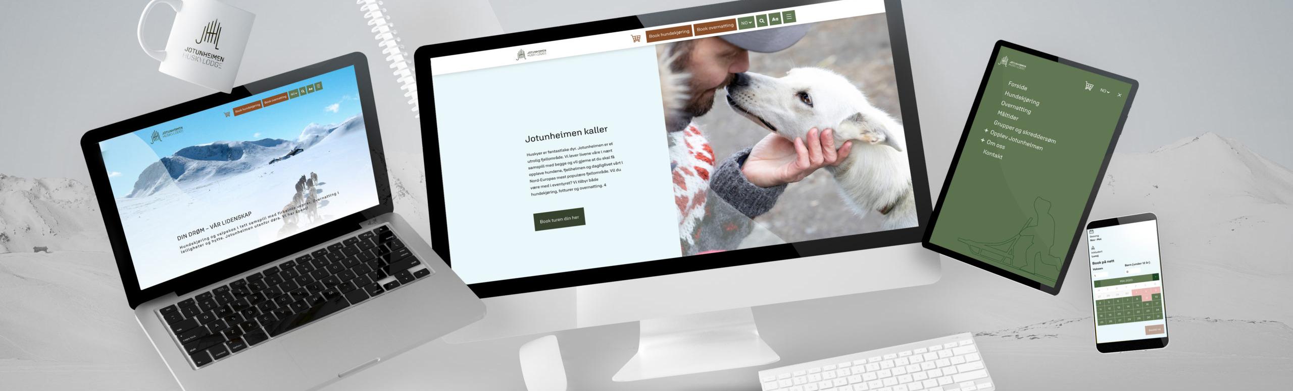 Bilde av nettside og design på kopp for Jotunheimen Husky Lodge, laget av Haus Byrå