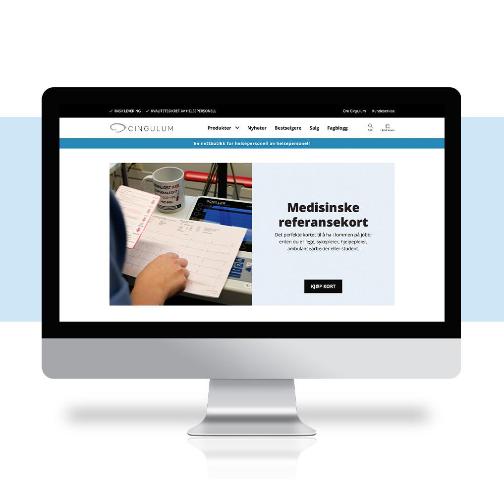 Bilde av nettside og nettbutikk for Cingulum, vist på desktop, laget av Haus Byrå