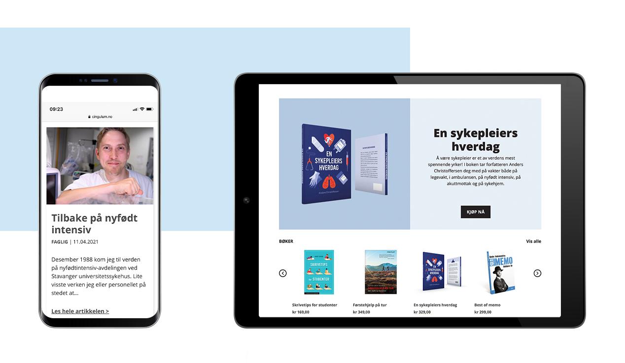 Bilde av nettbutikken til Cingulum, fagblogg og bilde fra forsiden, laget av Haus Byrå