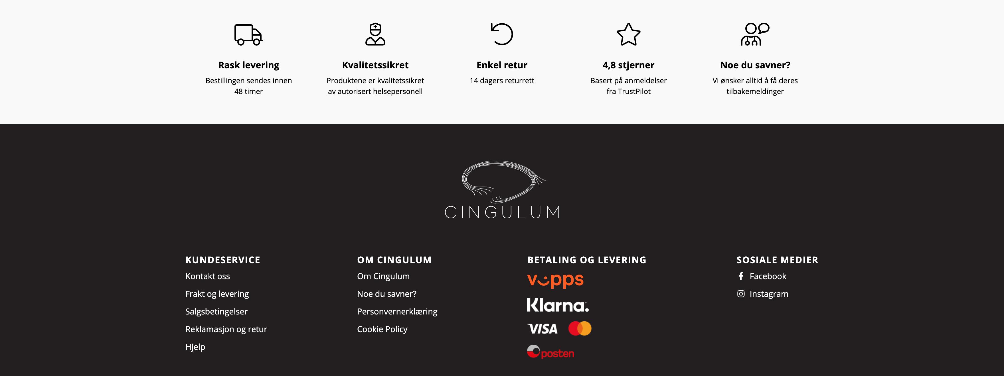 Bilde av footer på nettsiden til Cingulum, laget av Haus byrå